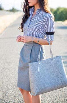 stripped shirt + pencil skirt work combination