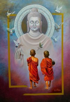 Two Little Monks - Print on Canvas - Abstract Prints Painting Buddha Drawing, Buddha Painting, Buddha Wall Art, Buddha Zen, Budha Art, Lord Ganesha Paintings, Acrilic Paintings, Chakras, Little Buddha