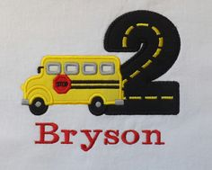School Bus Birthday T-Shirt or Bodysuit by TextileTransitions on Etsy