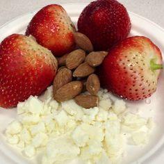 Breakfast: almond feta strawberries