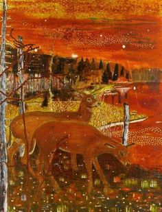 "Peter Doig, ""Red Deer"", 1990, Oil on canvas"