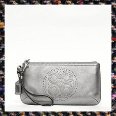 'Coach Audrey wristlet Metallic Silver Leather LG ' is going up for auction at  5pm Thu, Feb 7 with a starting bid of $60.