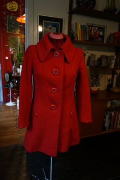 vintage 60s 70s red wool coat 1960s 1970s by dieyoungstaypretty