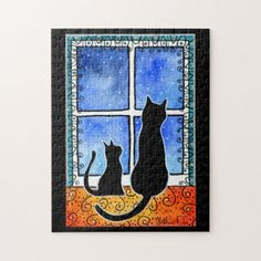Waiting for Spring Black Cat Card Jigsaw Puzzle - individual customized designs custom gift ideas diy