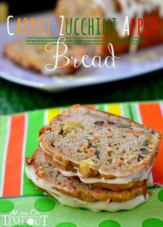 Carrot Zucchini Apple Bread | https://MomOnTimeout.com Delicious AND healthy! #zucchini #bread #recipe More Apples Breads, Zucchini Recipe, Zucchini Breads, Breads Recipe, Zucchini Apples, Cream Cheese, Apple Bread, Carrots Zucchini, Healthy Zucchini Bread Carrot Zucchini Apple Bread plus other Zucchini Recipes | MomOnTimeout.com Delicious AND healthy! #zucchini #bread #recipe Carrot Zucchini Apple Bread | unsalted butter, granulated sugar, eggs, orange juice, vanilla extract, all-purpose…