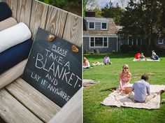 For a casual and relaxed vibe, set out blankets for guests to lay in the garden to relax in the evening