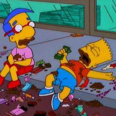 Bart and Milhouse Cartoon Memes, Cartoon Pics, Cartoons, Futurama, The Simpsons, Cartoon Profile Pictures, Over Dose, Reaction Pictures, Mellow Yellow