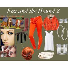 Fox and the Hound by dagger-seishin on Polyvore featuring Organic by John Patrick, Twenty8Twelve, Freebird, Lynn Ban, Blue Nile, Wet Seal, Jennifer Behr, disney, disneybound and disneyfashion