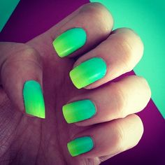 Green Neon Ombre Nails