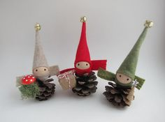 "4"" Pinecone Elf Ornament Trio-- Woodland Holiday Decor - Forest Gnomes - Tabletop Mantel Tree - Stocking Stuffer"