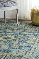 """Traditional Vintage Hannah Sunny Token Blue Area Rugs, 5 Feet by 7 Feet 5 Inches (5' x 7' 5"""")"""