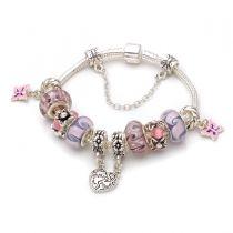 Mothers day gift! Purple flower murano glass beads mother daughter pendant dangle charm beads European bracelet