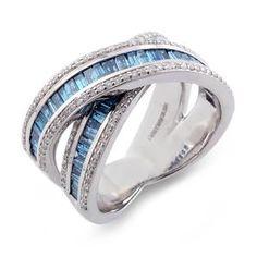 Malakan Jewelry - Platinum-Silver Ladies Treated Blue Diamond Band 78388B2