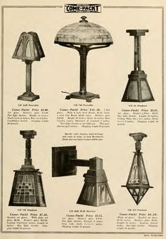 Light Fixtures And Lamps In The ComePackt Furniture Catalog, 1911.
