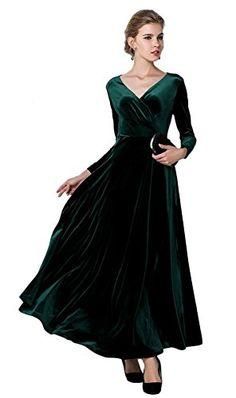 Beautiful Urban CoCo Urban CoCo Women Long Sleeve V-Neck Velvet Stretchy Long  Dress womens 86c192457
