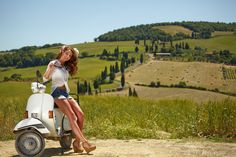 Young beautiful italian woman sitting on a italian scooter in tuscany outdoor Piaggio Scooter, Vespa Bike, Scooter Motorcycle, Vespa Scooters, Vespa Lambretta, Beautiful Italian Women, Young And Beautiful, Vintage Vespa, Dirt Bike Girl