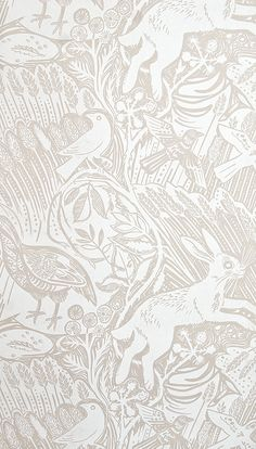 Harvest Hare Wallpaper Excellent lino print wallpaper with Mark Hearld rabbit…