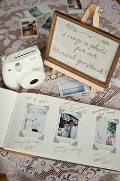 10 Wedding Guest Book Alternatives - Ideas For Your Wedding - Polaroid Wedding . - 10 Wedding Guest Book Alternatives – Ideas For Your Wedding – Polaroid Wedding Guest Book Idea. Dream Wedding, Wedding Day, Wedding Hacks, Wedding Book, Budget Wedding, Perfect Wedding, Budget Bride, Polaroid Wedding Guest Book, Post Wedding