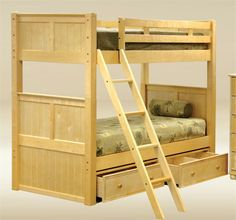 bunk beds | Dillon Natural Wood Square Post Twin Bunk Bed