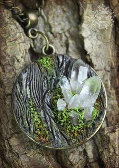 Купить Кулон Сrystal tree - коричневый, лес, лесной, лесная тема, имитация, Имитация дерева
