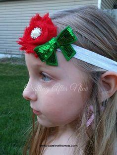 Christmas Headband,  Infant Headband, Newborn headband, Toddler Headband, Ready To Ship, Holiday Hairbow, Holiday Headband, Girl's Holiday - pinned by pin4etsy.com