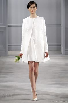 monique lhuillier bridal 2014 short civil ceremony wedding dress minnie coat long sleeves