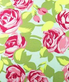 If I had a girl's room to decorate.  Amy Butler Tumble Roses Pink ,floral, fabric fabric, surface design, surface pattern