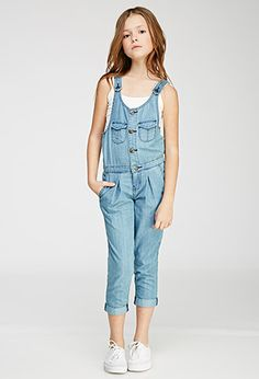 Pleated Button-Front Overalls (Kids) | Forever 21 girls - 2000114862
