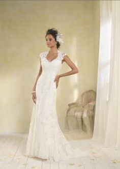 Floral Cap Sleeves Lace Bridal Gown