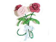Three Beaded Roses Bouquet OOAK. Self by BeadedGardenCanada French Beaded Flowers, Rose Bouquet, Crochet Earrings, Bonsai Trees, Gemstones, Christmas Ornaments, Beads, Holiday Decor, How To Make