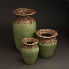 Hannie Goldgewicht. wax thread and pine needles using the coiling method.