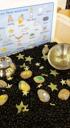 'Whatever Next' themed sensory box Planets Activities, Eyfs Activities, Space Activities, Creative Activities, Kindergarten Activities, Educational Activities, Classroom Activities, School Reception, Home Childcare
