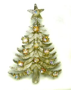 Signed MYLU Silvertone Aurora Borealis Christmas Tree Pin