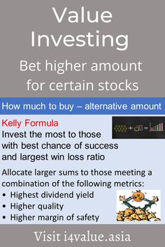 To be successful in the stock market you have to learn money management. This is about determining how much money to allocate to each stock. One way is to use the principles of the Kelly formula. This is to allocate the most to those with the highest probability of success and most win size. I translate this to mean invest the most to those with the highest conviction. This means a higher margin of safety and dividend-paying. #i4value #learntoinvest #valueinvesting #stockmarket #investment Value Investing, Investing In Stocks, Fundamental Analysis, Technical Analysis, Asset Management, Money Management, Dividend Investing, Stock Portfolio, Baby Steps