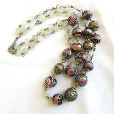 Vintage 2 Strand Venetian Glass Wedding Cake Beads & Clear Opaque Glass Beads Necklace by MyVintageJewels, $48.00