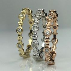 Fun, fashionable stacking rings to personalize your look. Wear as unique wedding ring or to add a touch of glamour to your look. Mix the color of metal to create that perfect stackable ring collection look that is you. Stackable Diamond Rings, Stacking Rings, Wedding Rings, Glamour, Touch, Create, Metal, Unique, Fun