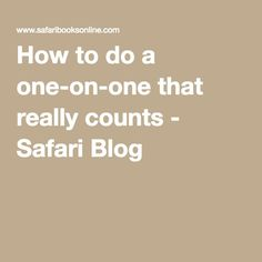 How to do a one-on-one that really counts - Safari Blog