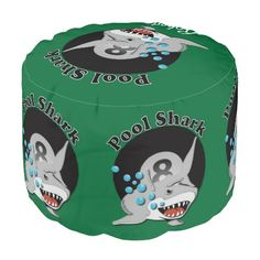 """Eight Ball Pool Shark Round Pouf - $140.00 - Eight Ball Pool Shark Round Pouf - by #RGebbiePhoto @ zazzle - #pool #billiards #game - Eight ball from a Billiards set, rendered in 3D. """"Pool Shark"""" in bold letters above 8 ball with illustrated great white shark, teeth showing. Great for budding pool players and sharks alike!"""