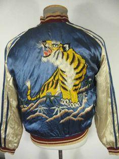 VINTAGE 40'S REVERSIBLE JAPAN TOUR SOUVENIR JACKET TIGER DRAGONS SZ 40 STUNNING
