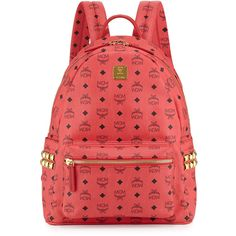 MCM Stark Side Stud Large Backpack ($725) ❤ liked on Polyvore featuring bags, backpacks, red, travel rucksack, red leather backpack, mcm backpack, monogrammed backpacks and leather strap backpack