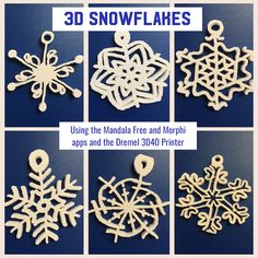3D Snowflakes - created with Morphi app, printed with Dremel 3D40 Ideabuilder 3D printer