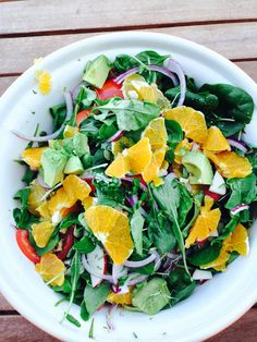 #summersalad with pumpkin seeds, walnuts, orange, apple, rocket, spinach, tomato, capsicum, red onion, avocado and crunchy bean &sprout combo. I are this with some salmon that had been cooked in the BBQ <3
