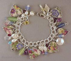 soldered broken china pendants | Broken china heart charm bracelet. Antique bird ... | Soldered jewelry