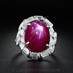 20 Carat Star Burmese Ruby and Diamond Ring in Platinum - 30-91-3591 - Lang Antiques