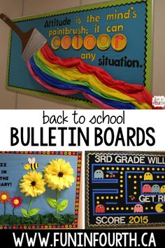 15 Back to School Bulletin Board Ideas! Here are some of my favorite bulletin board ideas I found that are perfect for back to school. September Bulletin Boards, Hallway Bulletin Boards, Elementary Bulletin Boards, Creative Bulletin Boards, Teacher Bulletin Boards, Back To School Bulletin Boards, Classroom Bulletin Boards, Teacher Doors, Elementary Schools