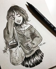 """8,531 Likes, 31 Comments - Judit Mallol (@juditmallolart) on Instagram: """"#inktober day 8 ✨ Bubble tea witch going to her herbology exam fully prepared! """""""