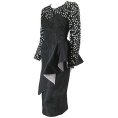 Preowned 1980's French Couture Cocktail Dress ($850) ❤ liked on Polyvore featuring dresses, black, cocktail dresses, lace peplum dresses, lace dress, lace sleeve dress, lace cocktail dress and 80s cocktail dress