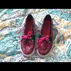 Hot Pink and Black Sperrys Very fun hot pink and black Sperrys. In good condition. I will be posting several more pair. Sperry Top-Sider Shoes