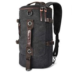 afa03d18e1d1 LUXUR Retro Duffel Cylinder Bag Canvas Travel Backpack for Men Hiking  Luggage Weekend Bag Black    Learn more by visiting the image link.