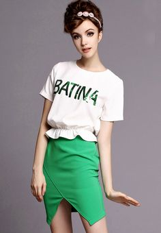 White Short Sleeve Sequined Top With Green Skirt